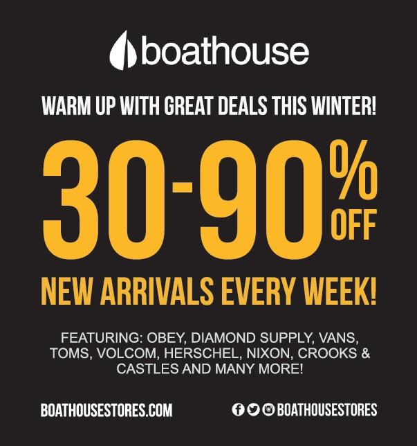 Coupon for: Orillia Square Mall - Boathouse - 30-90% Off