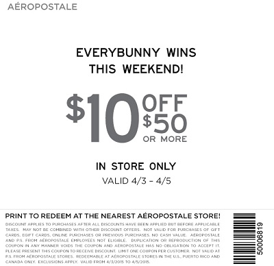 Coupon for: Aéropostale, Everybunny wins this weekend