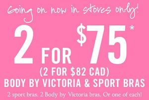 Coupon for: Victoria's Secret, 2 bras for special price