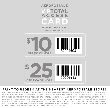 Coupon for: Aéropostale, VIP Total Access Card