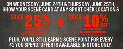 Coupon for: Sport Chek Canadian stores, Scene member exclusive offer