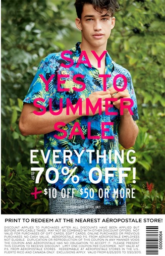 Coupon for: Aéropostale Canadian Stores, Summer Sale