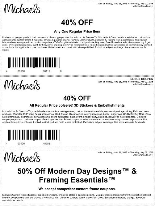 Coupon for: Michaels Canada, Sale coupons