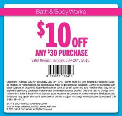 Coupon for: Save with printable coupon at Bath & Body Works Canada