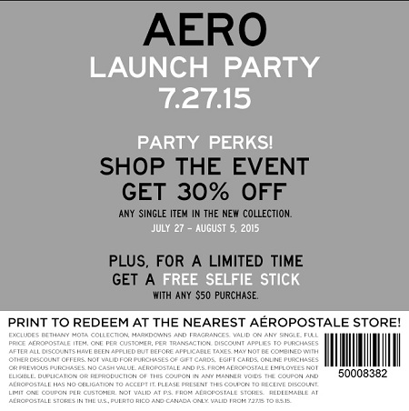 Coupon for: Save with coupon at Canadian Aéropostale stores