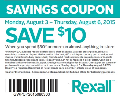 Coupon for: Rexall Canada, Shopping with savings coupon