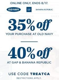Coupon for: Huge savings at Old Navy, Banana Republic & Gap Canada