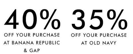 Coupon for: Save money at Banana Republic Canada, Old Navy Canada or Gap Canada