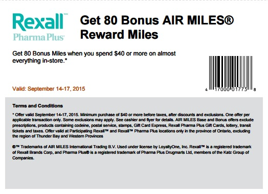 Coupon for: Get 80 Bonus Air Miles from Rexall Pharma Plus Canada