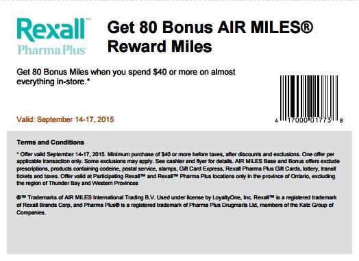 Coupon for: Get 80 Bonus Air Miles from Rexall Pharma Plus Canada