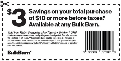Coupon for: Save on your purchase at Bulk Barn Canada