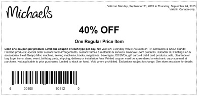 Coupon for: One regular priced item with discount at Michaels