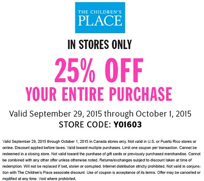 Coupon for: Enjoy shopping with coupon at Canadian The Children's Place stores