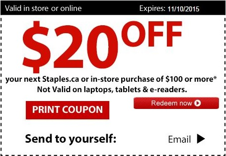Coupon for: Use printable coupon at Staples Canada and save money