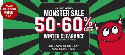 Coupon for: Monster Sale at The Children's Place Canada locations and online