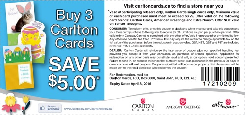 Coupon for: Easter deal at Carlton Cards Canada locations