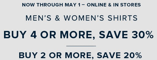 Coupon for: Buy more, save more at Brooks Brothers Canada