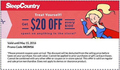 Coupon for: Get savings coupon from Sleep Country Canada