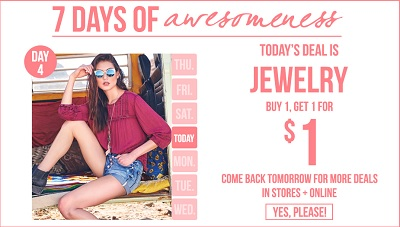 Coupon for: 7 days of awesomeness at Ardene Canada