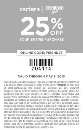Coupon for: Shop Carter's | OshKosh Canada Friends & Family Sale