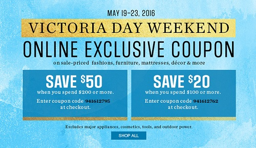 Coupon for: Victoria Day Weekend  Sale at Sears Canada