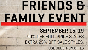 Coupon for: Shop Friends & Family Event at Puma Canada online