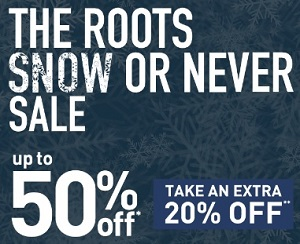 Coupon for: Roots Canada Sale: Up to 50% off retail prices
