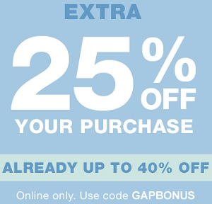 Coupon for: Gap Canada Deal: Save up to 40% off + Get extra discount on your purchase