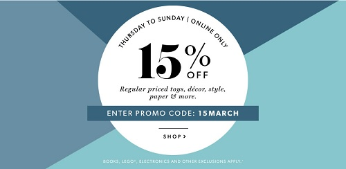 Coupon for: Save 15% off selected styles at Indigo Canada