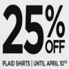 Coupon for: Save 25% off women & men plaid shirts at Roots Canada