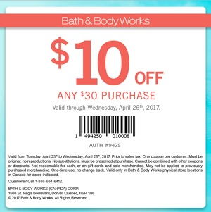 Coupon for: Save $10 off your purchase at Bath & Body Works Canada