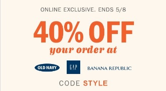 Coupon for: Save money at Old Navy, Gap and Banana Republic Canada Sale during these days