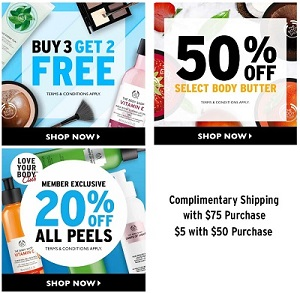 Coupon for: 3 ways to save at The Body Shop Canada