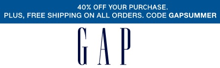 Coupon for: Take an extra 40% off your purchase at Gap Canada