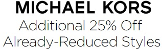 Coupon for: Additional Savings at Michael Kors Canada