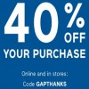 Coupon for: Gap Canada Sale: Get 40% off your purchase