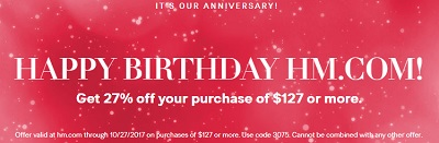 Coupon for: H&M Canada is celebrating Birthday