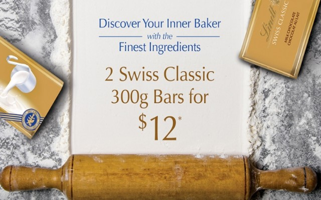 Coupon for: Lindt at Shop Park Royal - Discover Your Inner Baker with the Finest Ingredients 2 Swiss Classic 300g Bars for $12*