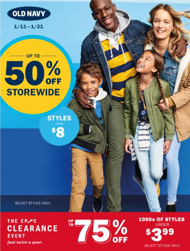 Coupon for: Old Navy at Yorkdale shopping centre - Sale up to 50% off storewide.