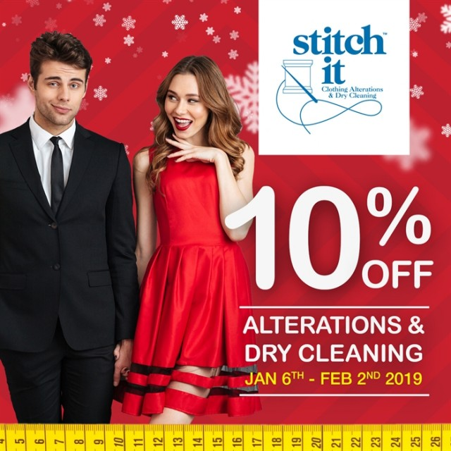 Coupon for: Stitch it at Georgetown market place - SAVE 10% on all Clothing Alterations & Dry Cleaning