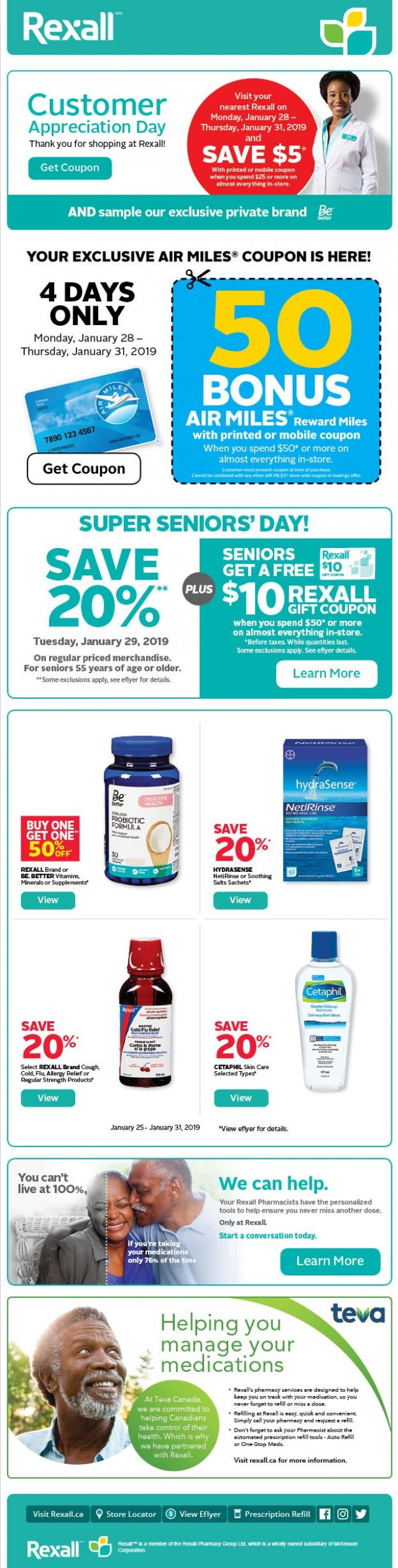 Coupon for: Rexall - Special sale up to 20% off on selected items.