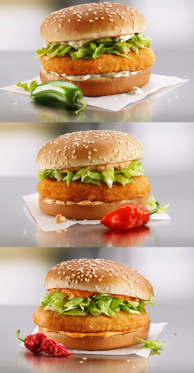 Coupon for: McDonalds Canada - new Spicy McChicken - classic McChicken with three new spice levels
