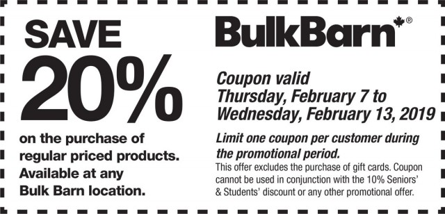 Coupon for: Bulk Barn Canada - new coupon starting today - save 20% off
