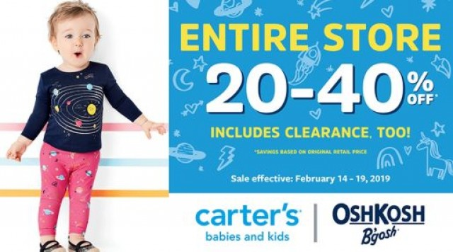 Coupon for: ENTIRE STORE 20-40% OFF at Carter's / OshKosh