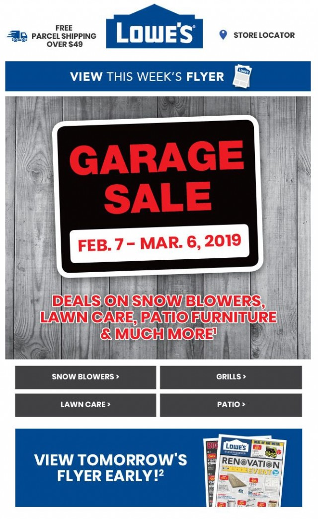 Coupon for: Lowe's - Garage Sale