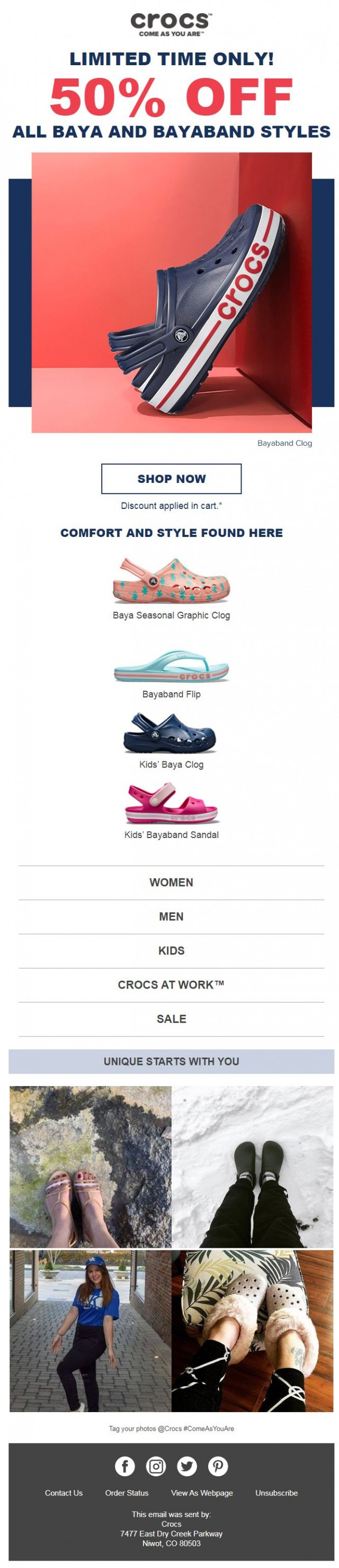 Coupon for: Crocs - The sale is on! 50% off all Baya and Bayaband styles