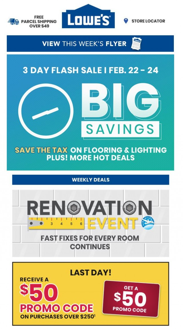 Coupon for: Lowe's - Breaking news! 3 day flash sale starts now!
