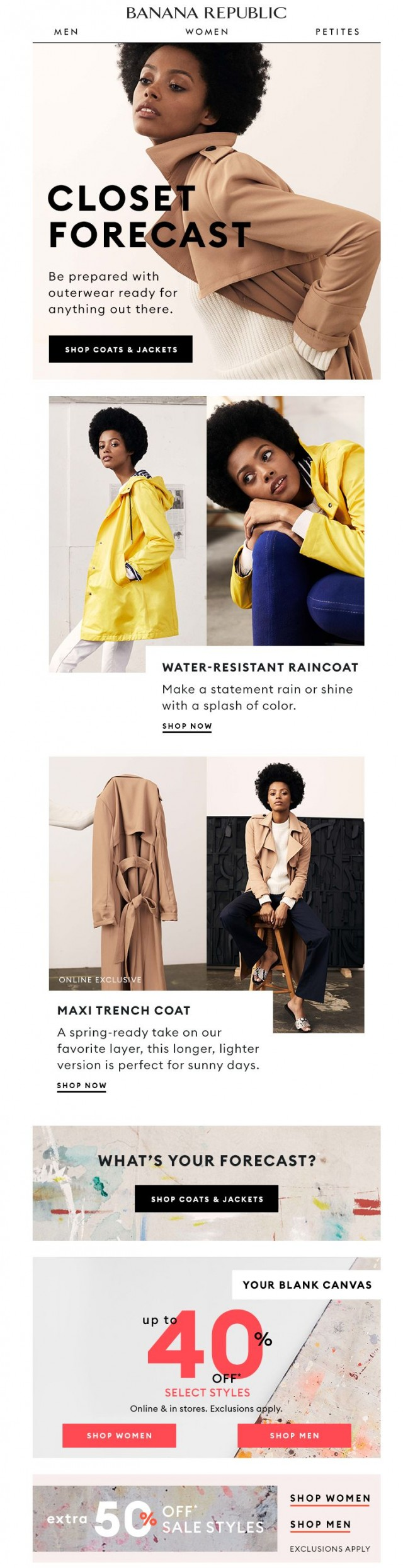 Coupon for: Banana Republic - WEATHER REPORT: rain-or-shine layers