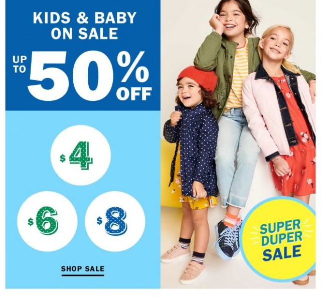 Coupon for: Old Navy - Up to 50% Off Kids and Baby Sale