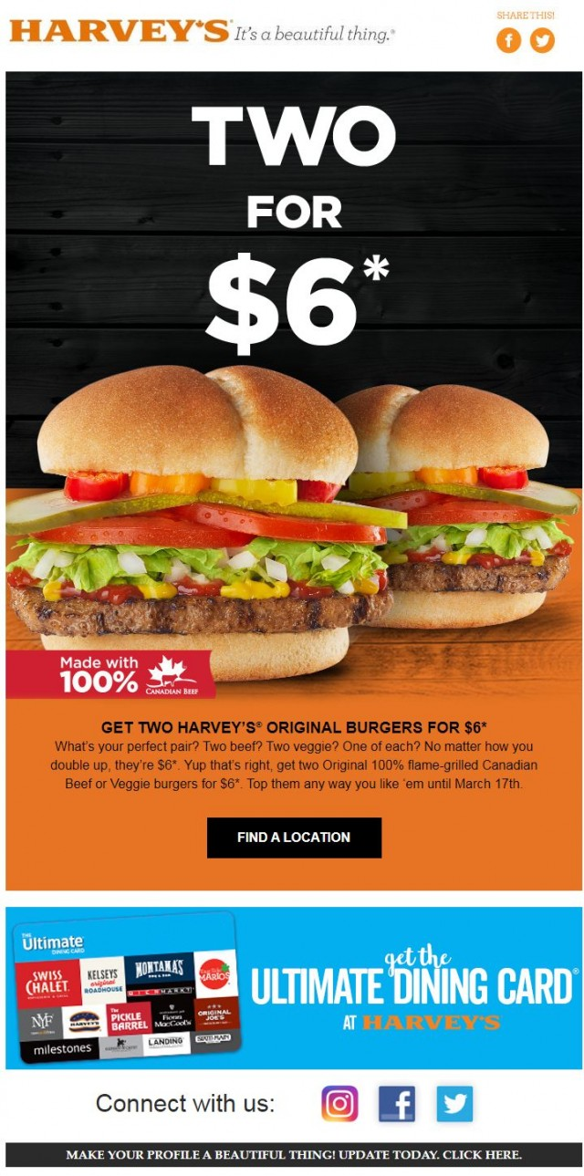 Coupon for: Harvey's - Get Two Harvey's original Burgers for $6